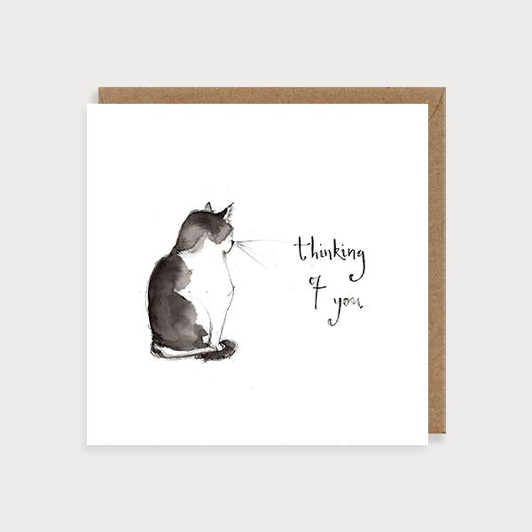 Image of illustrated friendship card with a black and white cat and the caption Thinking of You