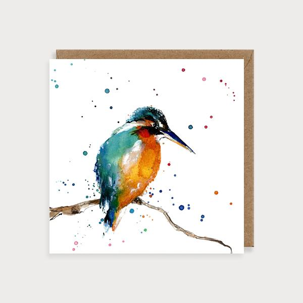 Image of illustrated card with a kingfisher