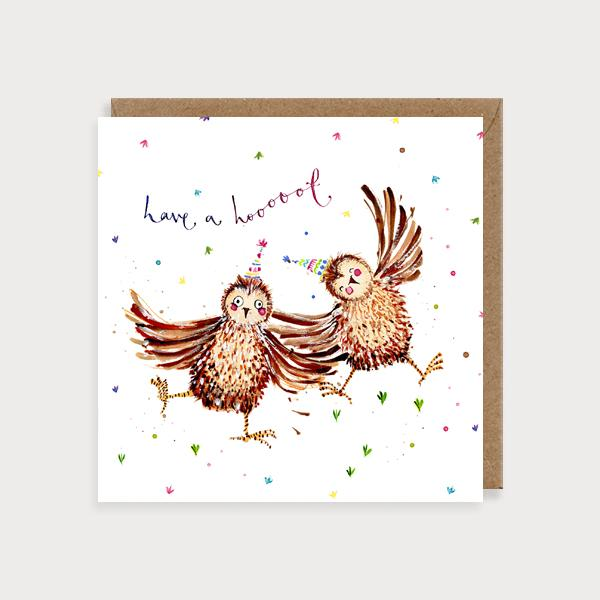 Image of illustrated card with two owlsnand the caption have a hoot