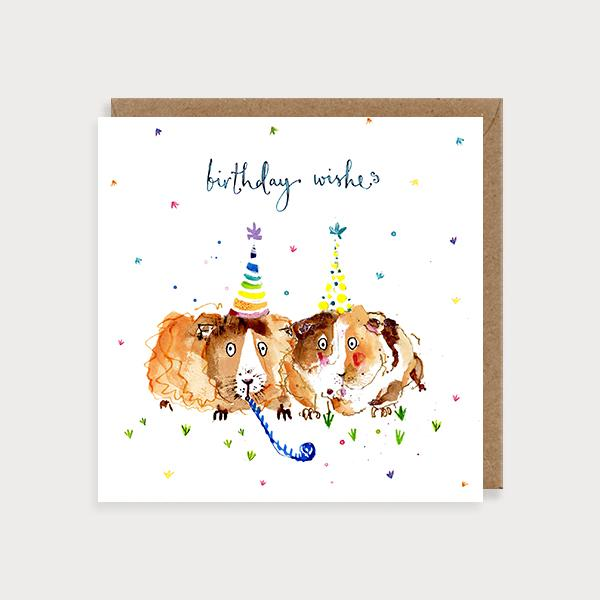 Image of illustrated birthday card with two guinea pig in party hats and the caption Birthday Wishes