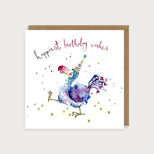 Image of illustrated birthday card with a Dodo in party hat and the caption Happiest Birthday Wishes