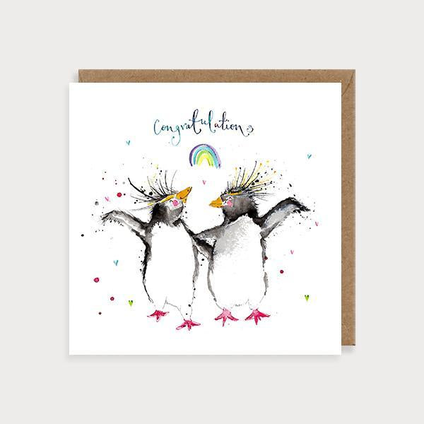 Image of ilustrated wedding card with 2 penguins dancing and the caption Congratulations