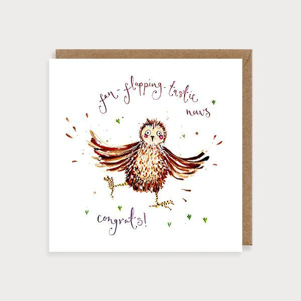 Image of illustrated congratulations card with a yellow butterfly and the caption Congratulations