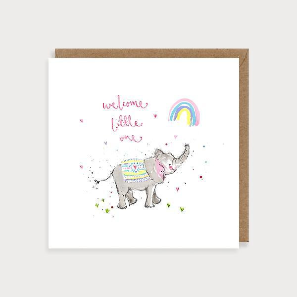 Image of illustrated new baby girl card an elephant and rainbow and the caption Welcome Little One