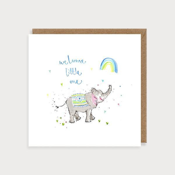 Image of illustrated new baby boy card an elephant and rainbow and the caption Welcome Little One