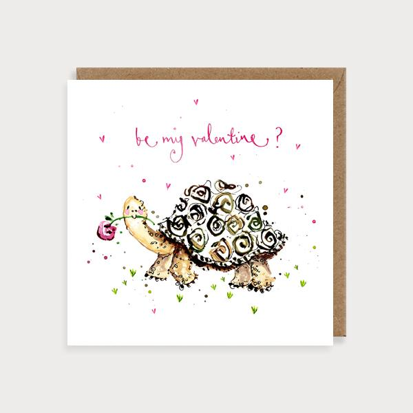 Image of illustrated card with a tortoise and the caption be my valentine?