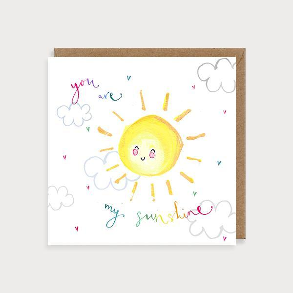 Image of illustrated valentines  or anniversary card with a sun and clouds and the caption You are My Sunshine