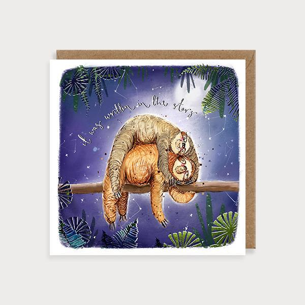 Image of ilustrated  wedding day card with 2 sloths on a branch at night and the caption It was Written in the Stars