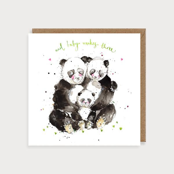 Image of illustrated card with three pandas and the caption and baby makes three