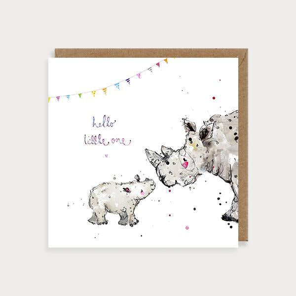 Image of illustrated new baby card with a rhino and baby rhino and bunting with the caption Hello Little One