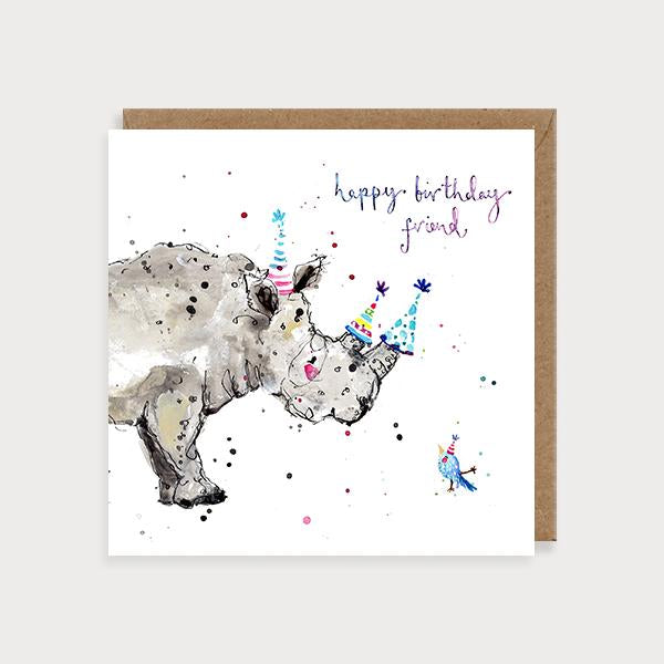 Image of illustrated birthday card with a rhino with 3 party hats and a bird with the caption Happy Birthday Friend