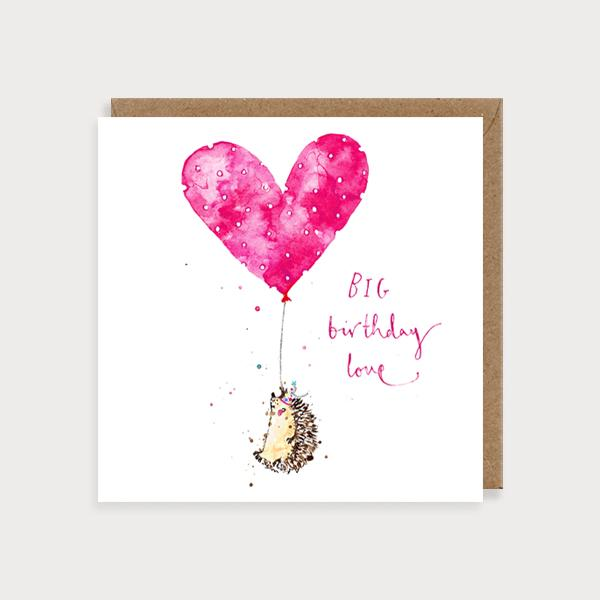 Image of illustrated birthday card with a hedgehood holding a heart shaped balloon and the caption BIG Birthday Love