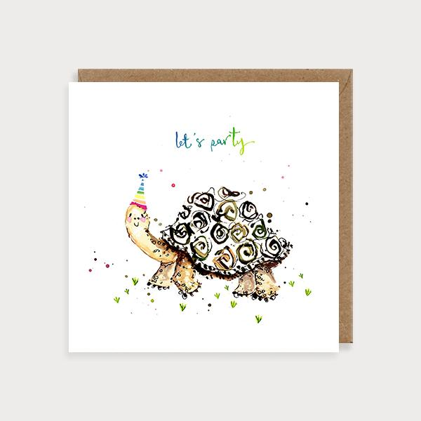 Image of illustrated birthday card with a tortoise in a party hat and the caption Let's Party