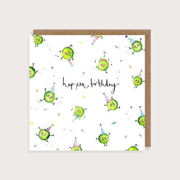 Image of illustrated birthday card with peas in party hats and the caption hap-pea-birthday