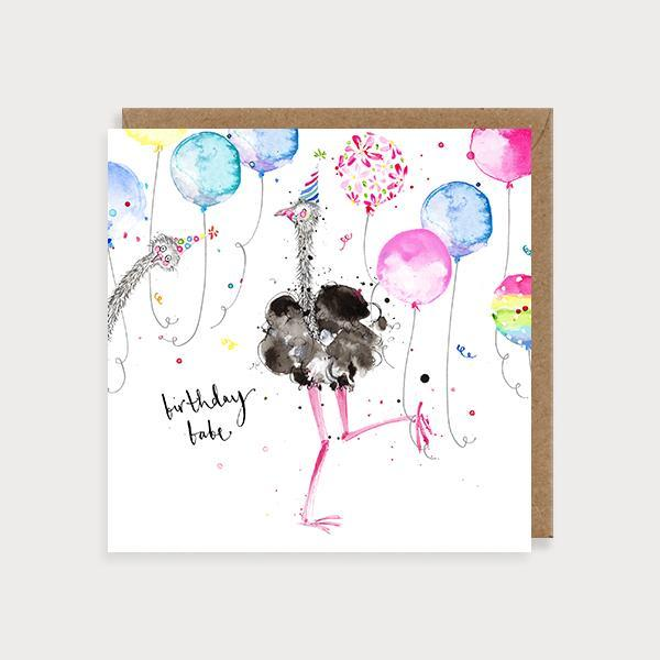 Image of illustrated birthday card with an ostrich in a party hat and ballons and the caption Birthday Babe