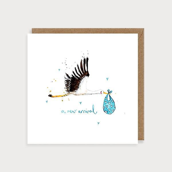 Image of illustrated new baby girl card with a stalk carrying a blue bundle and the caption A New Arrival