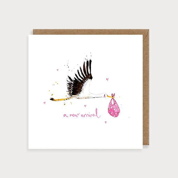 Image of illustrated new baby girl card with a stalk carrying a pink bundle and the caption A New Arrival