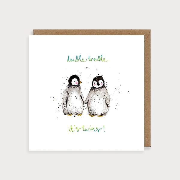 Image of illustrated new baby twins card with 2 penguins holding hands and the caption Double Trouble It's Twins