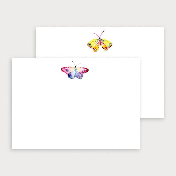 Image of illustrated notecard set with oneyellow butterfly design and a separate purple & pink butterfly design