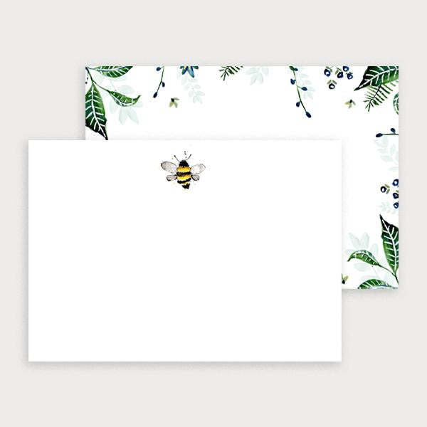 Image of illustrated notecard set with one foliage leaf design and a separate bee design