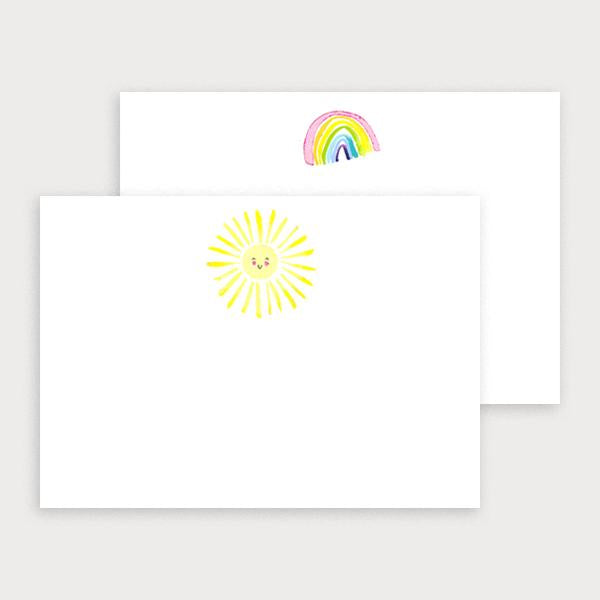 Image of illustrated notecard set with one rainbow design and a separate sun design