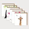 Image of bundle of illustrated mixed animal design birthday cards. Hedgehood and balloon with caption BIG Birthday Love, Cat with caption Have a Purrfect Birthday, 3 Meerkats and caption Who? Cake? Where? Giraffe and caption Hi, 2 Monkeys and caption Happiest Birthday & Flamingos with caption Not a Day Over Fabulous