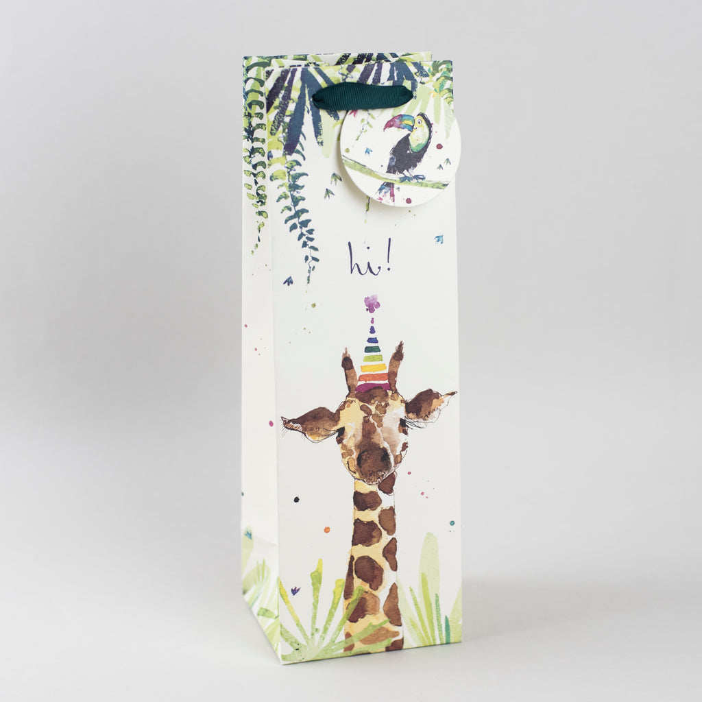 Image of illustrated giraffe themed birthday wine bottle gift bag with the caption Hi