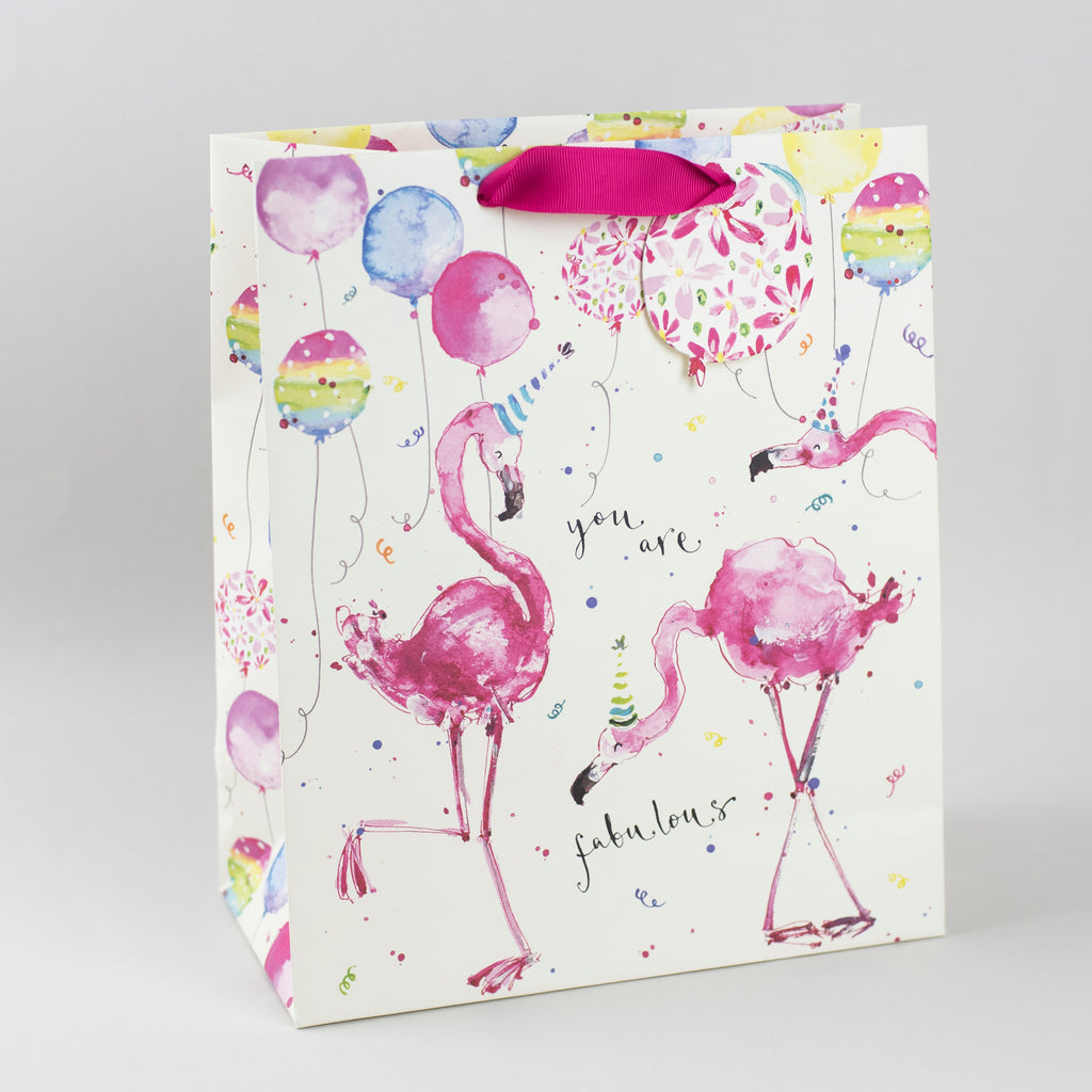 Image of illustrated party flamingo birthday gift bag