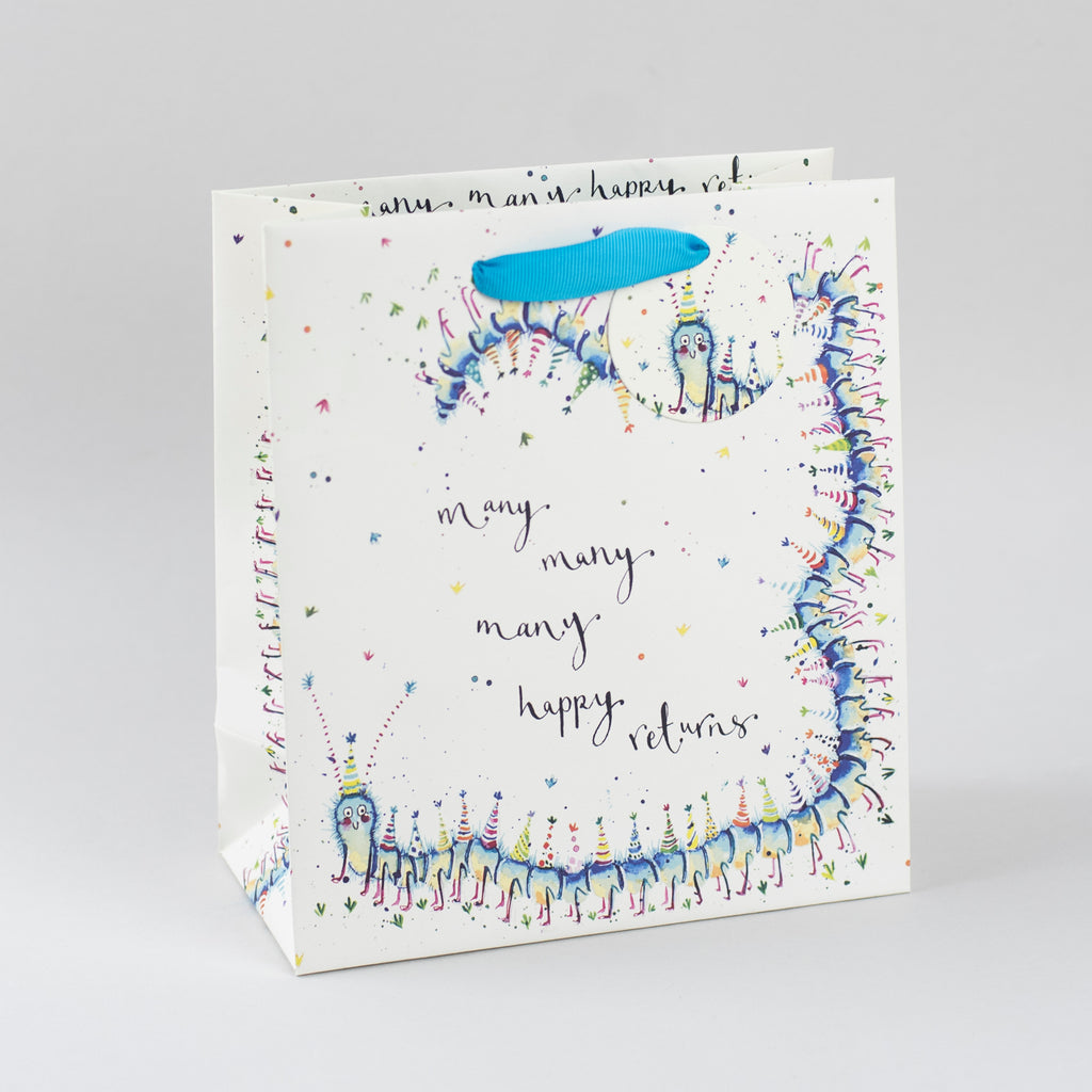 Image of illustrated centipede birthday gift bag with the caption Many Many Happy Returns
