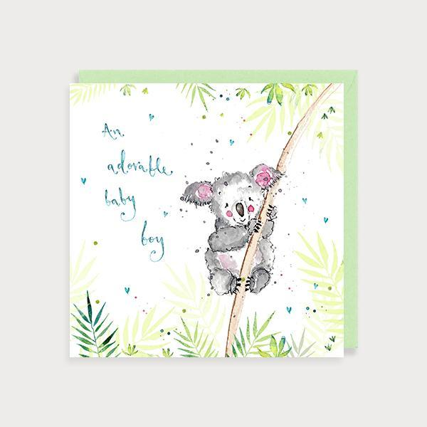 Image of illustrated new baby boy card with a koala bear on a branch and the caption An Adorable Baby Boy