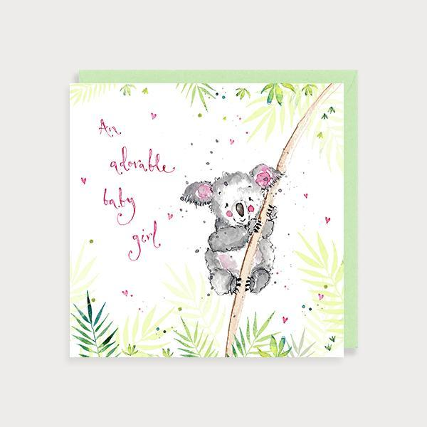 Image of illustrated new baby girl card with a koala bear on a branch and the caption An Adorable Baby Girl