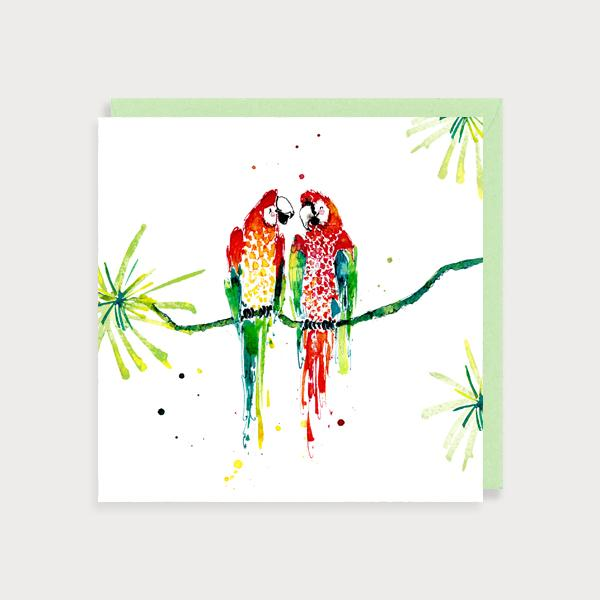 Image of illustrated card with macaw couple