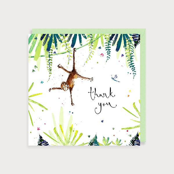 Image of illustrated thank you card with a monkey hanging from a vine and jungle leaves with the caption Thank You