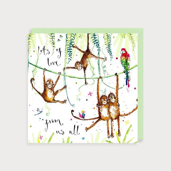 Image of illustrated birthday card with monkeys swinging from vines and jungle leaves and the caption Lots of Love From Us All