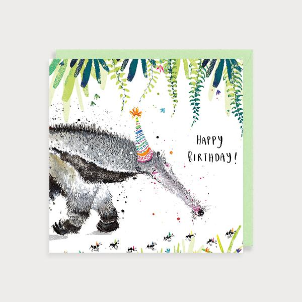 Image of illustrated birthday card with an anteater with a party hat in a jungle scene and the caption Happy Birthday