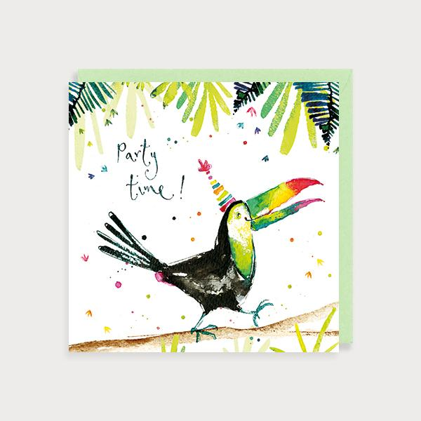 Image of illustrated birthday card with a toucan with a party hat in a jungle scene and the caption Happy Birthday