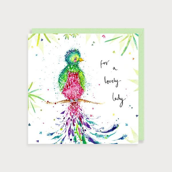 Image of illustrated card with a bird and the caption for a lovely lady