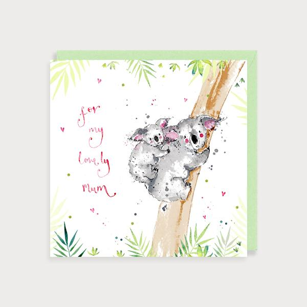 Image of illustrated card with a mum and baby koala and the caption for my lovely mum