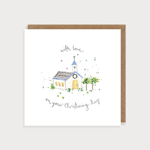 Image of illustrated card with a church and the caption with love on your christening day