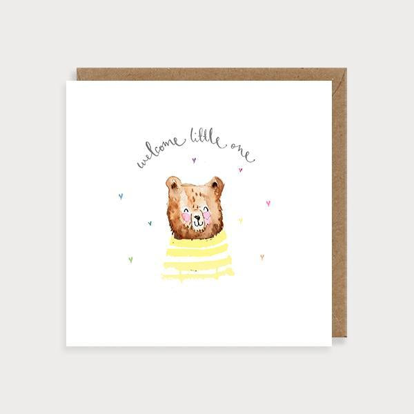 Image of illustrated new baby card with a baby bear wearing a jumper and the caption Welcome Little One