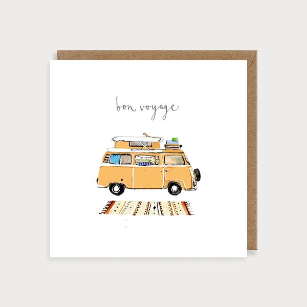 Image of illustrated card with a campervan and the caption bon voyage