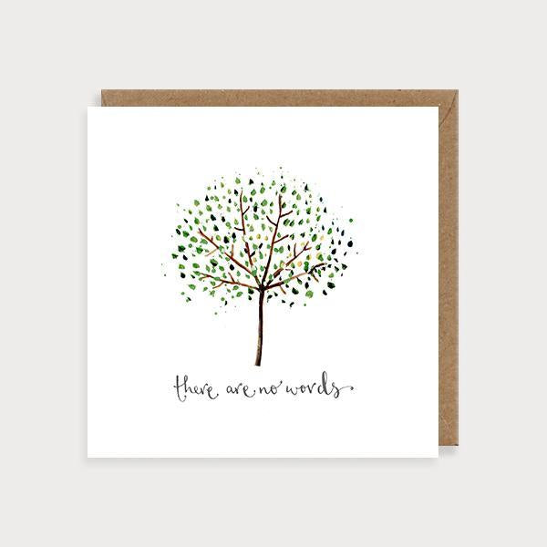 Image of ilustrated sympathy card with a tree and the caption There are No Words