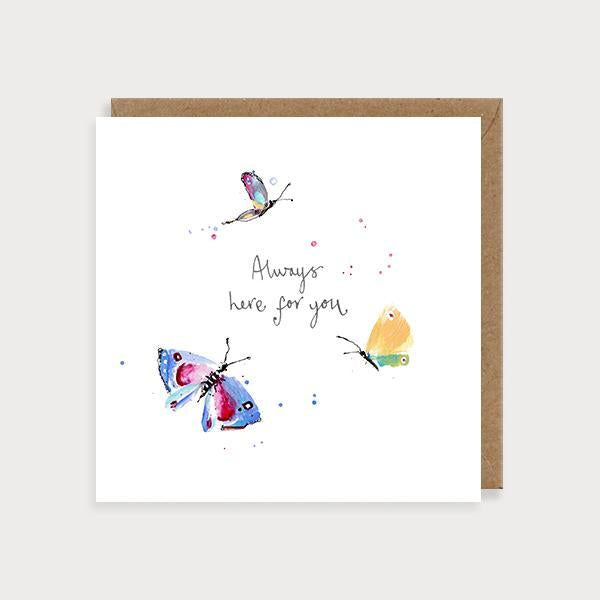 Image of illustrated friendship card with colourful butterflies and the caption Always Here for You