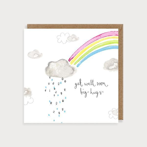 Image of illustrated get well soon card with a rainbow and a rain cloud with the caption Get Well Soon Big Hugs