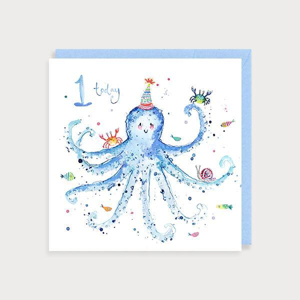 Image of illustrated baby boy's 1st birthday card with an octopus and the caption 1 today