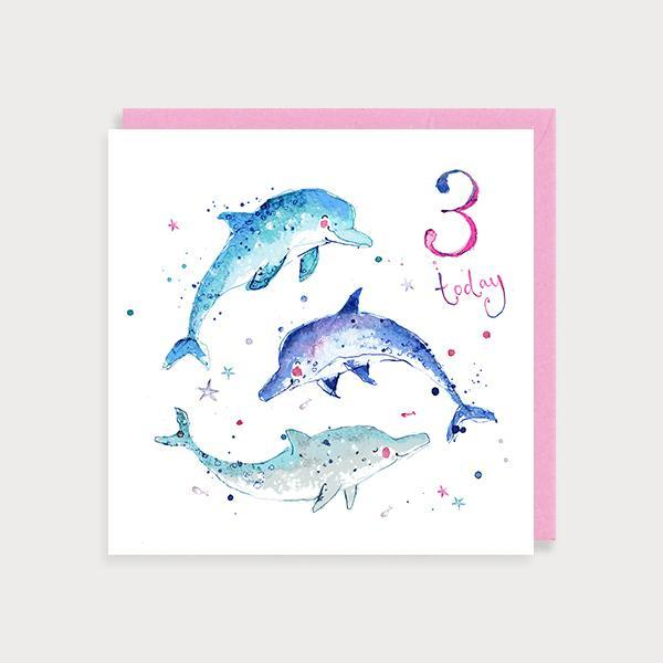 Image of illustrated girl's 3rd birthday card with 3 dolphins and the caption 3 today