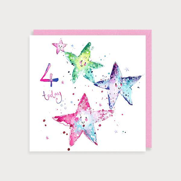 Image of illustrated girl's 4th birthday card with starfish and the caption 4 today