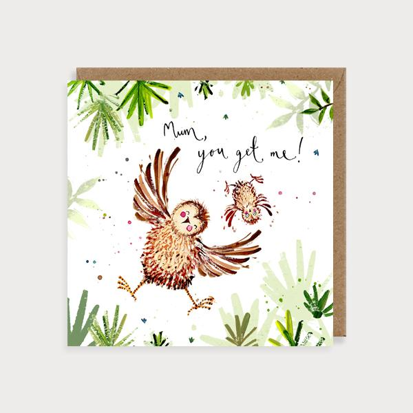 Image of illustrated card with two owls and the caption mum, you get me!