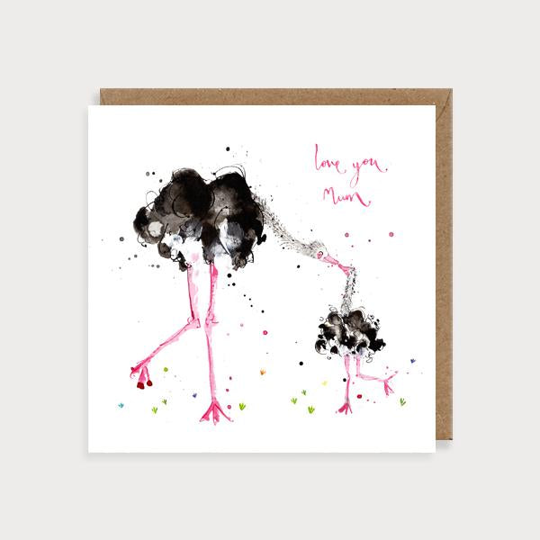 Image of illustrated card with two ostriches and the caption love you mum