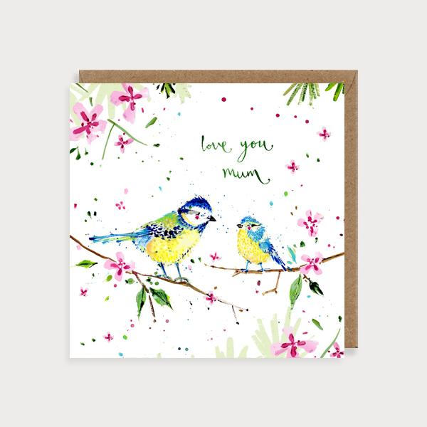 Image of illustrated card with blue tits and the caption love you mum